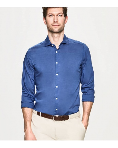 Hackett London Camisa Popelín Azul Lisa modelo