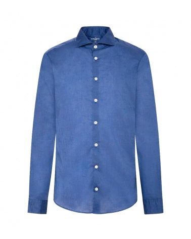 Hackett London Camisa Popelín Azul Lisa