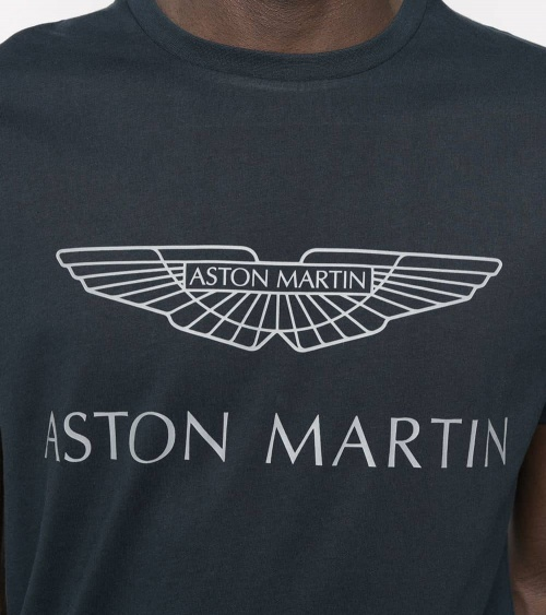 Hackett London Camiseta Marino Logo AMR detalle