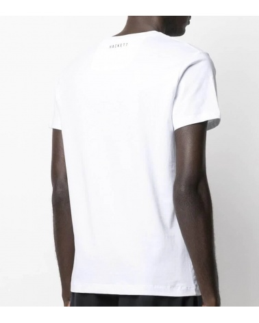 Hackett London Camiseta Blanca Logo AMR espalda