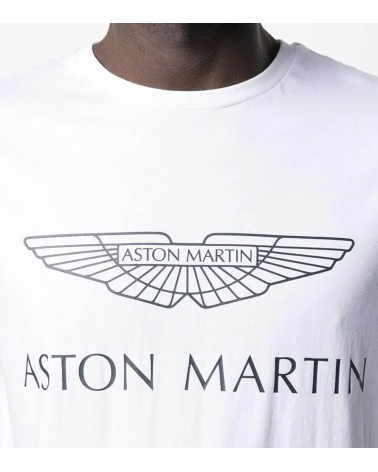 Hackett London Camiseta Blanca Logo AMR detalle