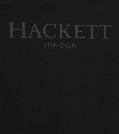 Hackett London Camiseta Negra Logo Frontal detalle
