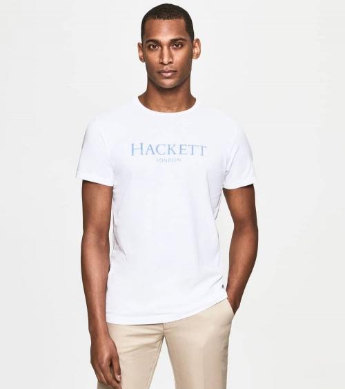 Hackett London Camiseta Blanca Logo Frontal modelo