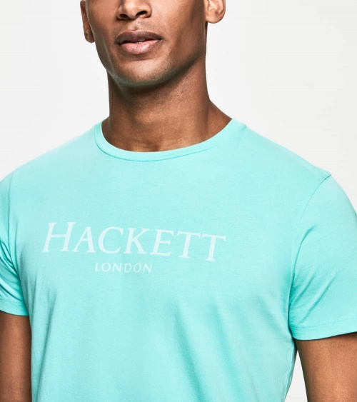Hackett London Camiseta Turquesa Logo Frontal detalle