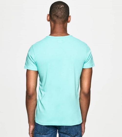 Hackett London Camiseta Turquesa Logo Frontal espalda