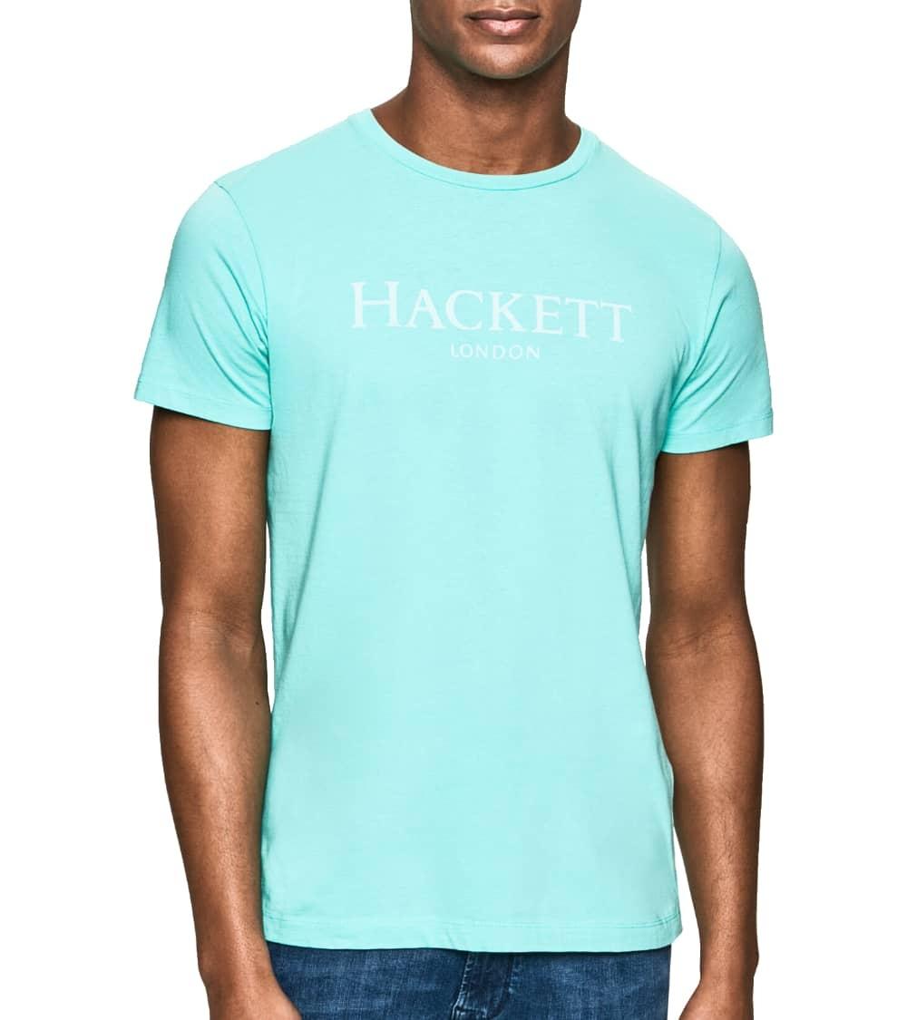 Hackett London Camiseta Turquesa Logo Frontal