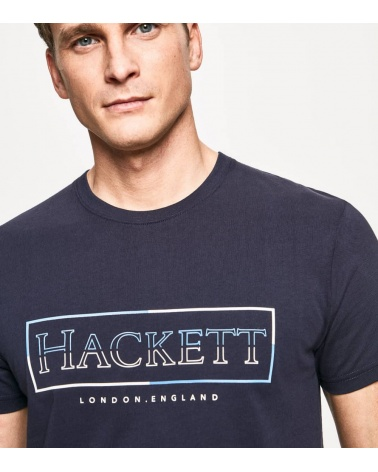 Hackett London Camiseta Marino Rectángulo detalle