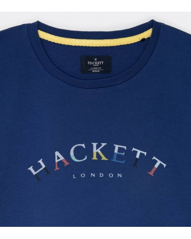 Hackett London Camiseta Azul Logo Frontal detalle