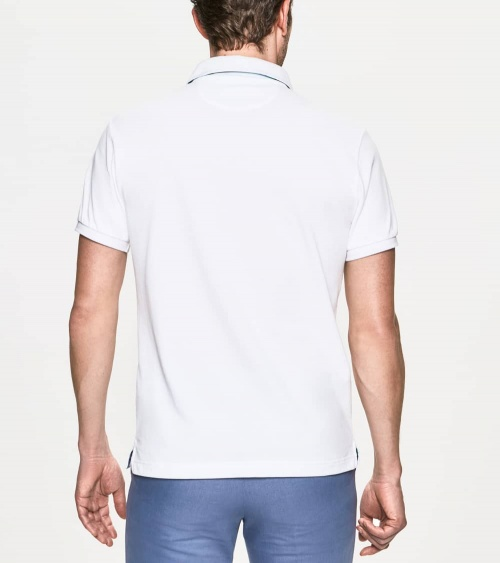 Hackett London Polo Básico Palms Blanco espalda