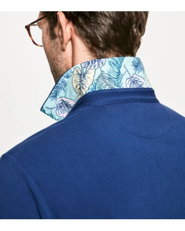 Hackett London Polo Básico Palms Azul cuello
