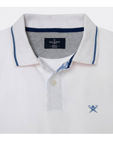 Hackett London Polo Blanco Línea Cuello detalle