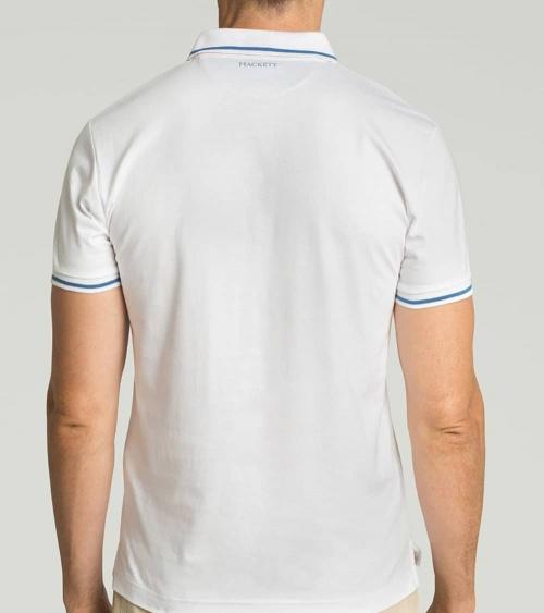Hackett London Polo Blanco Línea Cuello espalda