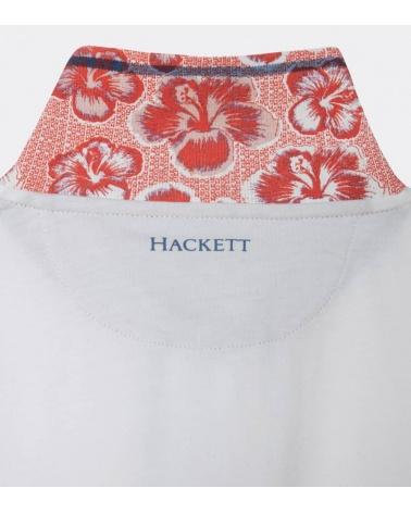 Hackett London Polo Blanco Línea Cuello estampado