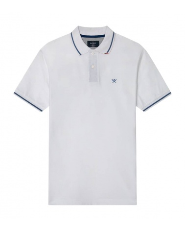 Hackett London Polo Blanco Línea Cuello
