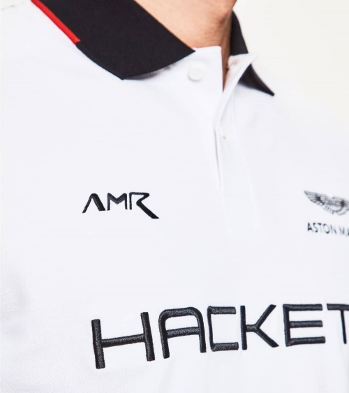 Hackett London Polo Blanco Espalda Negra AMR detalle