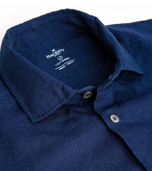 Hackett London Camisa Efecto Lino Índigo cuello