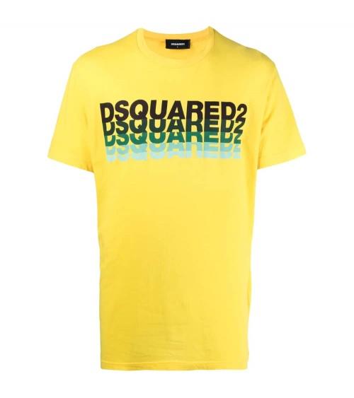 Dsquared2 Camiseta Amarilla Logo Degradé