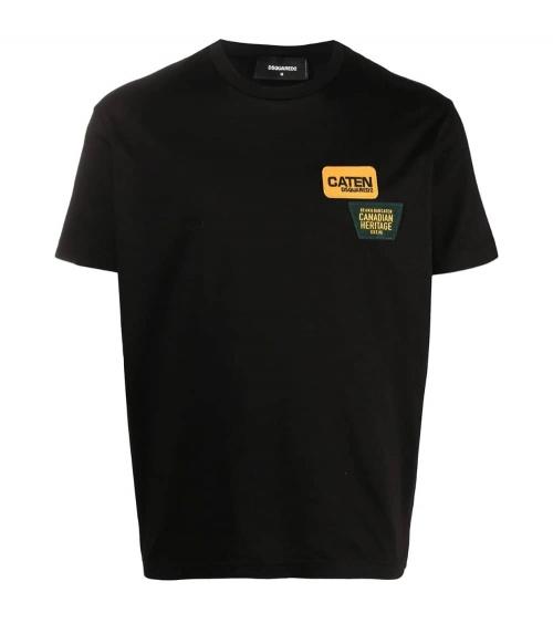 Dsquared2 Camiseta Negra Parches Pecho