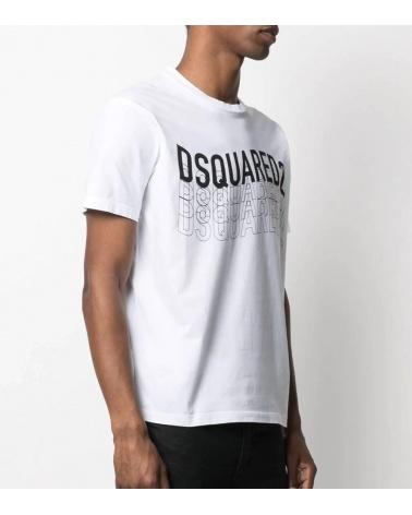 Dsquared2 Camiseta Blanca Logo Letrero modelo lateral