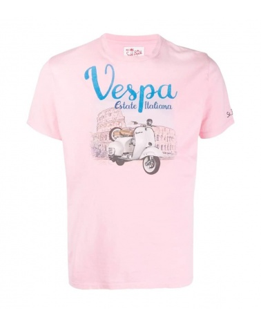 MC2 Saint Barth Camiseta Rosa Vespa Roma