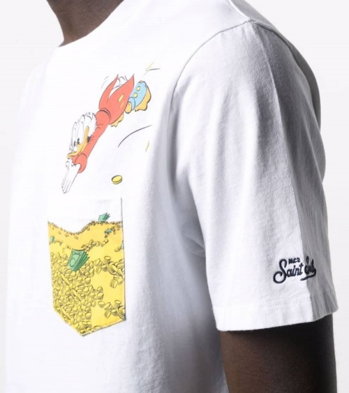 MC2 Saint Barth Camiseta Blanca Donald Gold detalle