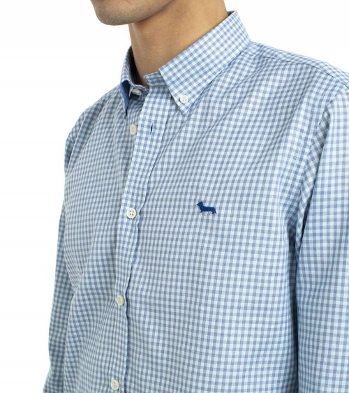 Harmont & Blaine Camisa Vichy Turquesa detalle
