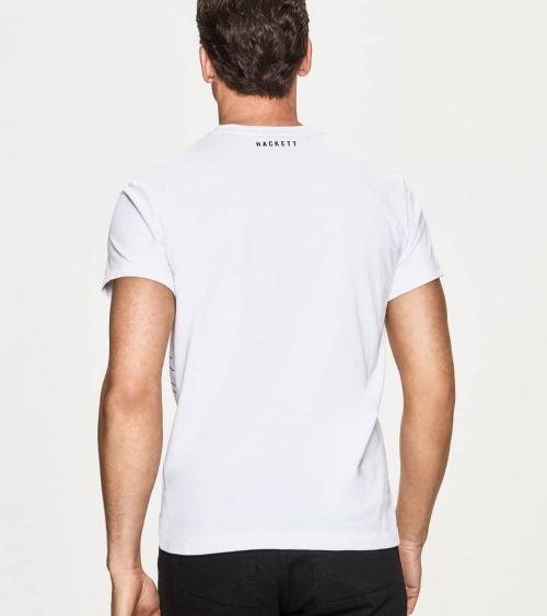 Hackett London Camiseta Blanca Frontal Geométrico espalda