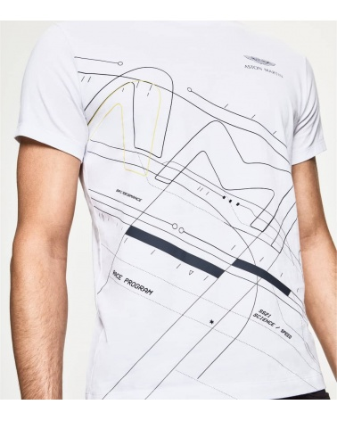 Hackett London Camiseta Blanca Frontal Geométrico estampado