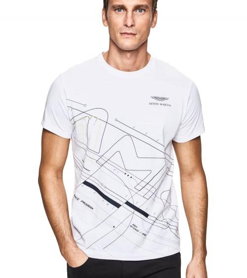 Hackett London Camiseta Blanca Frontal Geométrico