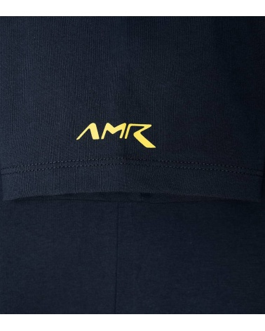 Hackett London Camiseta Marino Logo Amarillo detalle