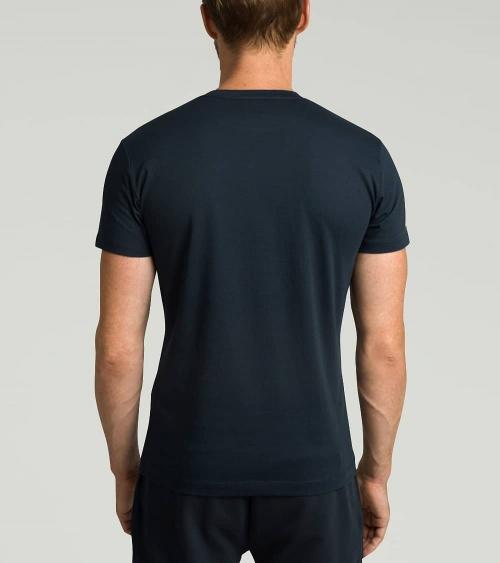 Hackett London Camiseta Marino Logo Amarillo espalda