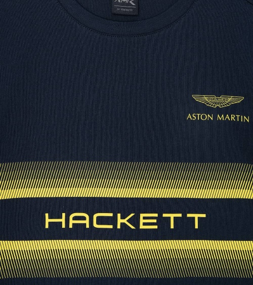 Hackett London Camiseta Marino Logo Amarillo estampado