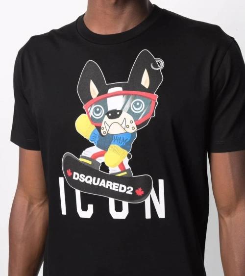 Dsquared2 Camiseta Negra Icon Bulldog detalle