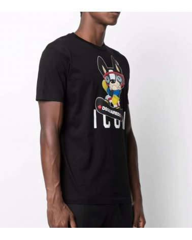 Dsquared2 Camiseta Negra Icon Bulldog modelo