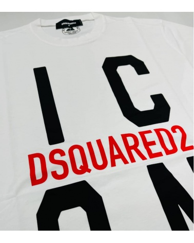 Dsquared2 Camiseta Big Icon Blanca detalle