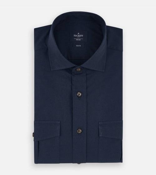 Hackett London Camisa Pockets Navy plegada
