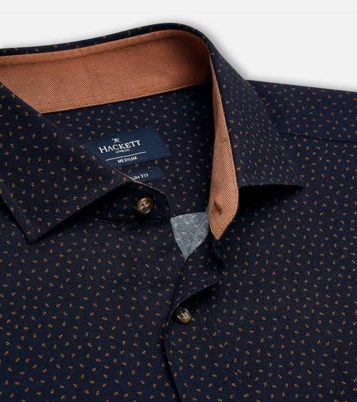 Hackett London Camisa Mini Flowers Navy cuello