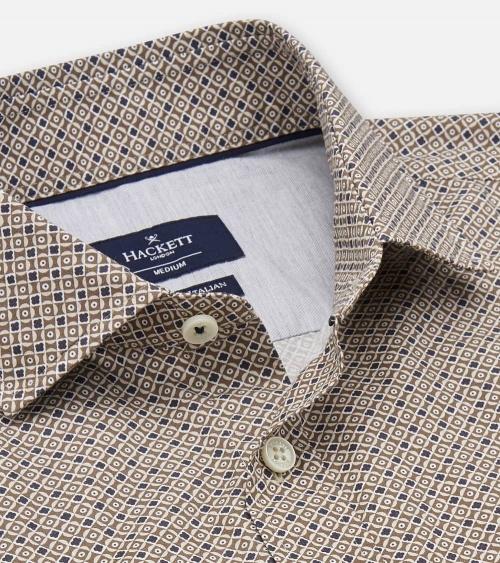 Hackett London Camisa Foulard Brown cuello