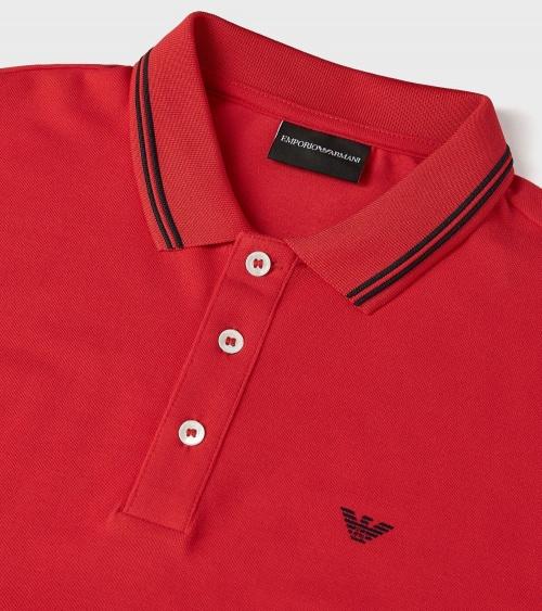 Emporio Armani Polo Rojo Class detalle cuello
