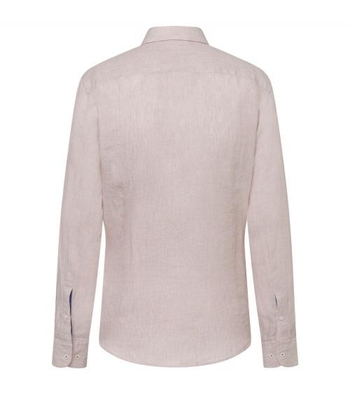 Hackett London Camisa Lino Beige detrás