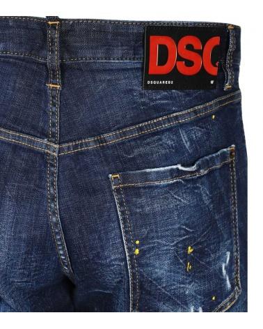 Bermuda Jeans Maxi Etiqueta Dsquared2 detalle