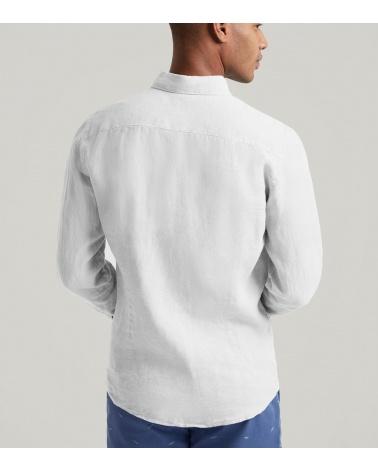 Hackett London Camisa Lino Blanca espalda
