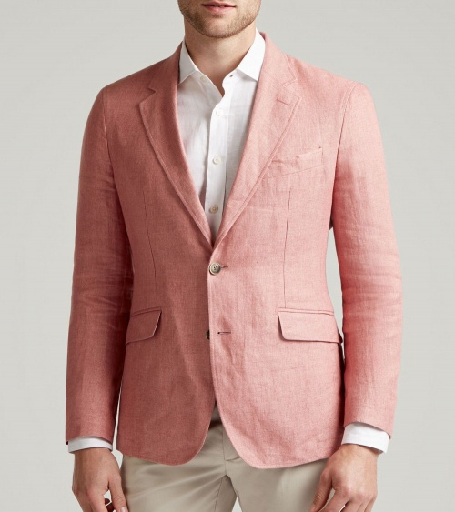 Hackett London Americana Lino Rosa modelo frontal