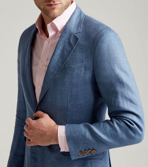 Hackett London Americana Lino Azul modelo detalle