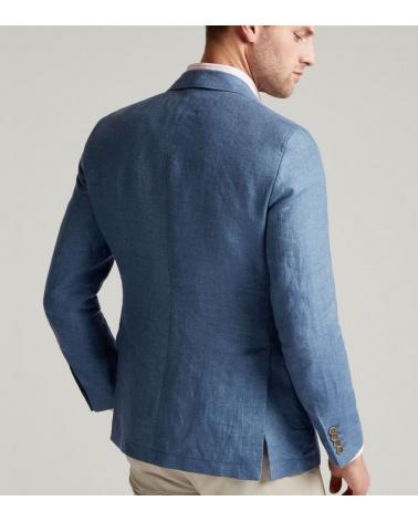 Hackett London Americana Lino Azul modelo espalda