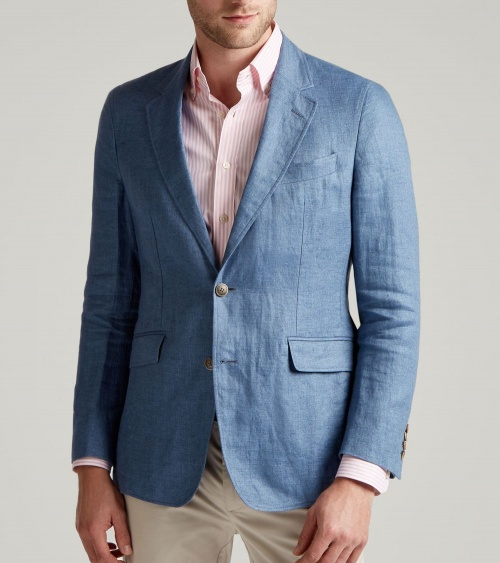 Hackett London Americana Lino Azul modelo frontal