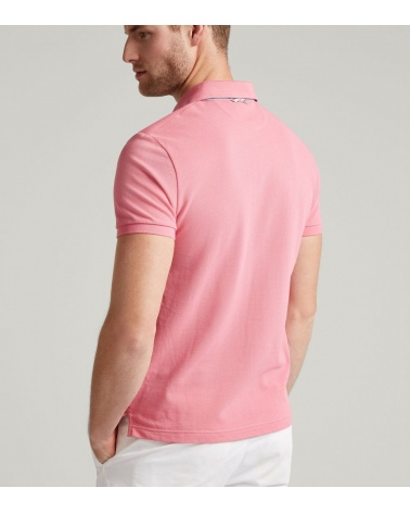 Hackett London Polo Básico Rosa modelo espalda