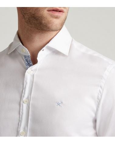 Hackett London Camisa Oxford Blanca detalle