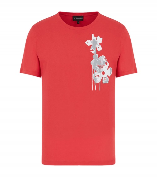 Emporio Armani Camiseta Roja Flower