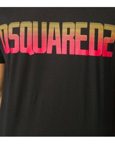 Dsquared2 Camiseta Negra Logo Degradé detalle